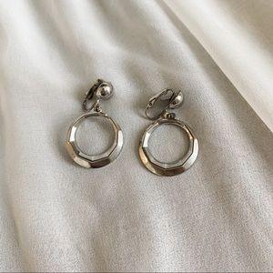 VTG Silver Geometric Circle Hoop Dangle Earrings